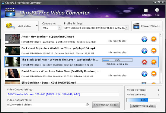 ChrisPC Free Video Converter full screenshot